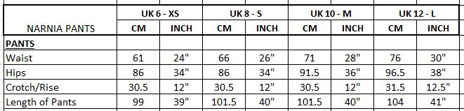 Measurement Narnia Pants
